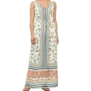 Lucky Brand Border Print Maxi Long Dress
